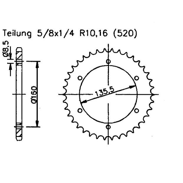 Aprilia 350 ETX Tuareg Wind 87-90 rear sprocket 45 teeth
