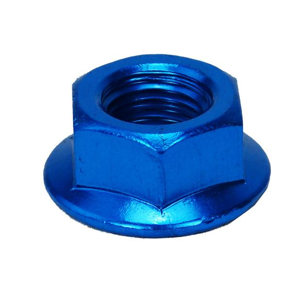Nut aluminium scooter front axle M12x1,5 blue