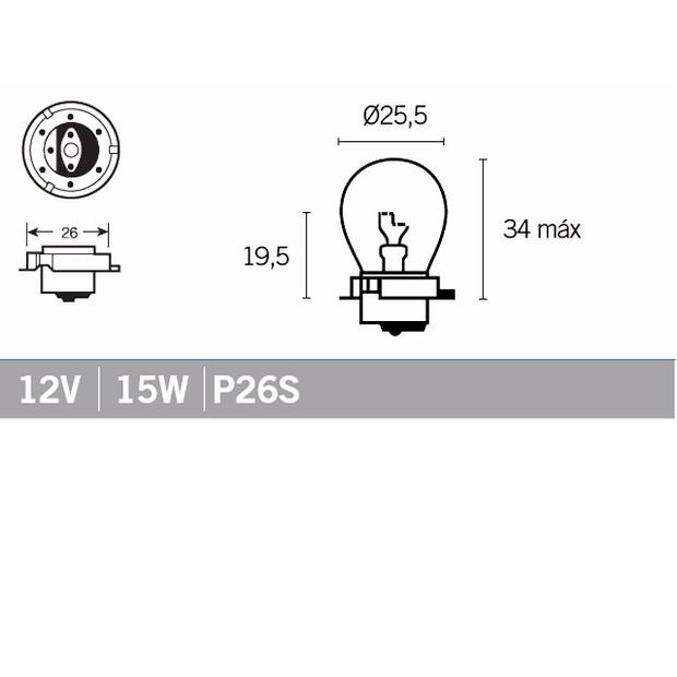 Lamps bulp 12V 15W P26S for front headlight