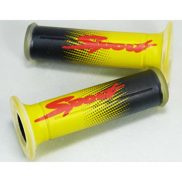 Two-component rubber grips for motorcycle yellow