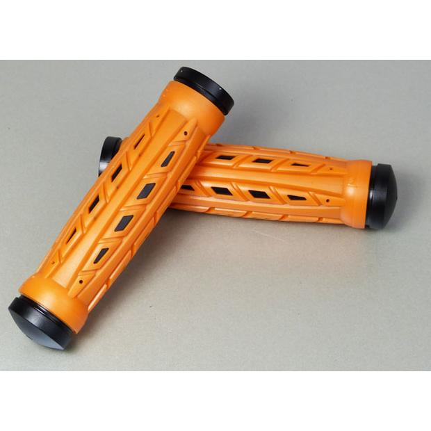 Rubber grips for Quad ATV with thumb throttle orange black