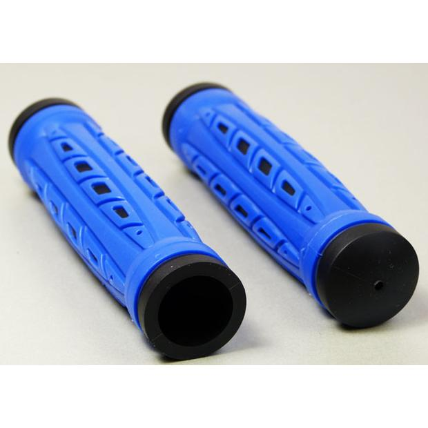 Rubber grips for Quad ATV with thumb throttle blue