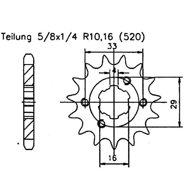 Maxxer Target TGB Blade 300 Kettenritzel 14 Zähne 520 für Kymco KXR MXU 250