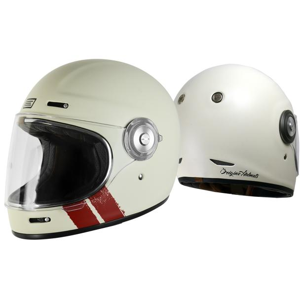 Origine Vega Stripe White Retro Integral Helm 64/XXL
