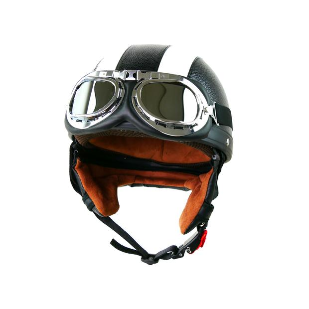 Helm Halbschale Retro Vintage Set mit Retrobrille 56-S
