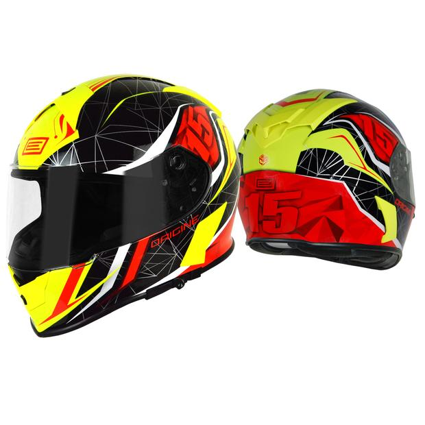 Helmet Origine GT Raider black, yellow and red with sun...