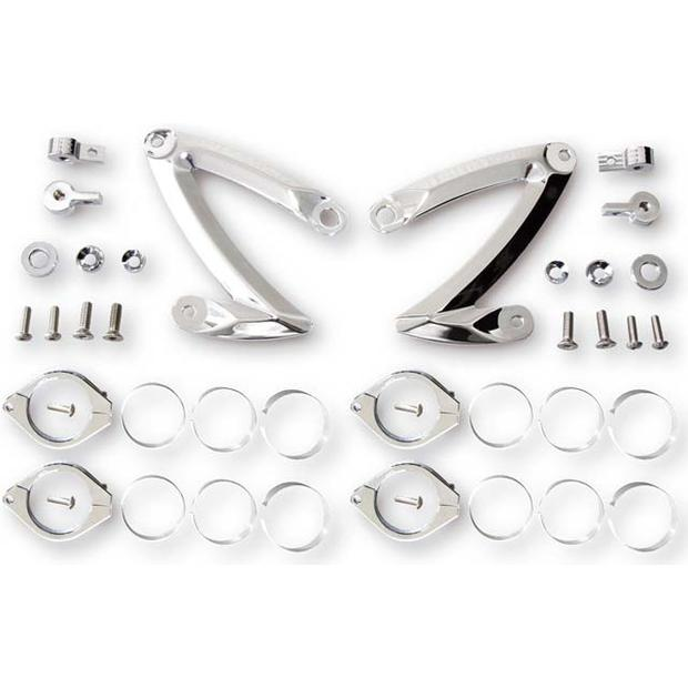 Aluminum Lamp Bracket Set Z-STYLE  chrome 42-43 mm