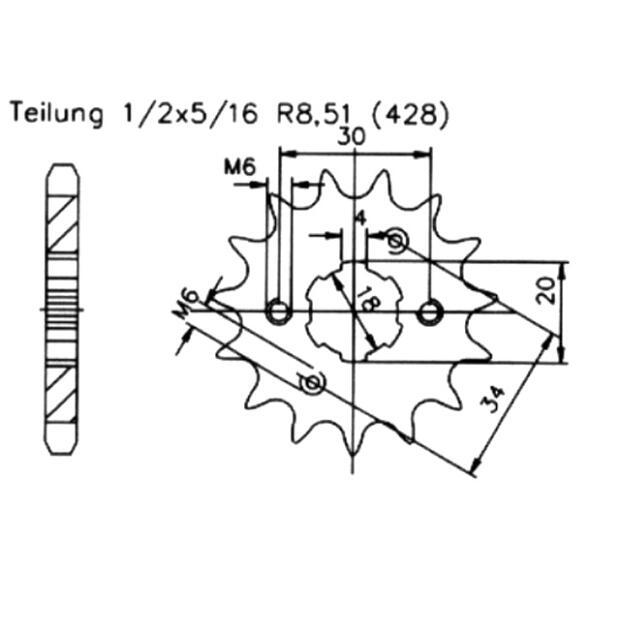17 Zähne Ritzel ATU Meteorit 125 Cruiser